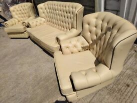 Chesterfield 3 piece suite in cream leather, beechwood frame excellent condition, can deliver.