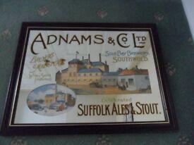 Vintage Collectable Adnams Brewery Suffolk Southwold Advertising Mirror Rare