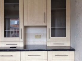 Full set of kitchen units and work tops.