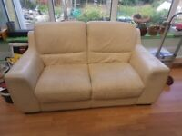 FREE TO A GOOD HOME --2 SEATER LEATHER SOFA VERY SOLID GOOD CONDITION