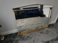 "Large Contemporary Wall Mirror with Gold frame - 50"" by 37"""