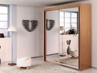 BLACK WALNUT & WHITE COLORS! ! NEW BERLIN FULL MIRROR 2 DOOR SLIDING WARDROBE WITH SHELVES AND RAILS
