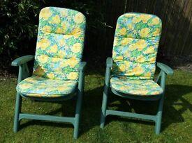 Recliner Green Plastic Garden Chairs