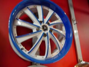 20 INCH DEMO BLUE & WHITE RIMS 5X120 - AMAZING - CHEAP WHEELS