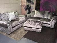 New Laurence Llewleyn Bowen Scarpa 3 Seater And 2 Seater Fabric Sofas And Footstool Crushed Velvet