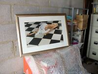 Good size Framed Modern picture of partly naked Woman on Floor