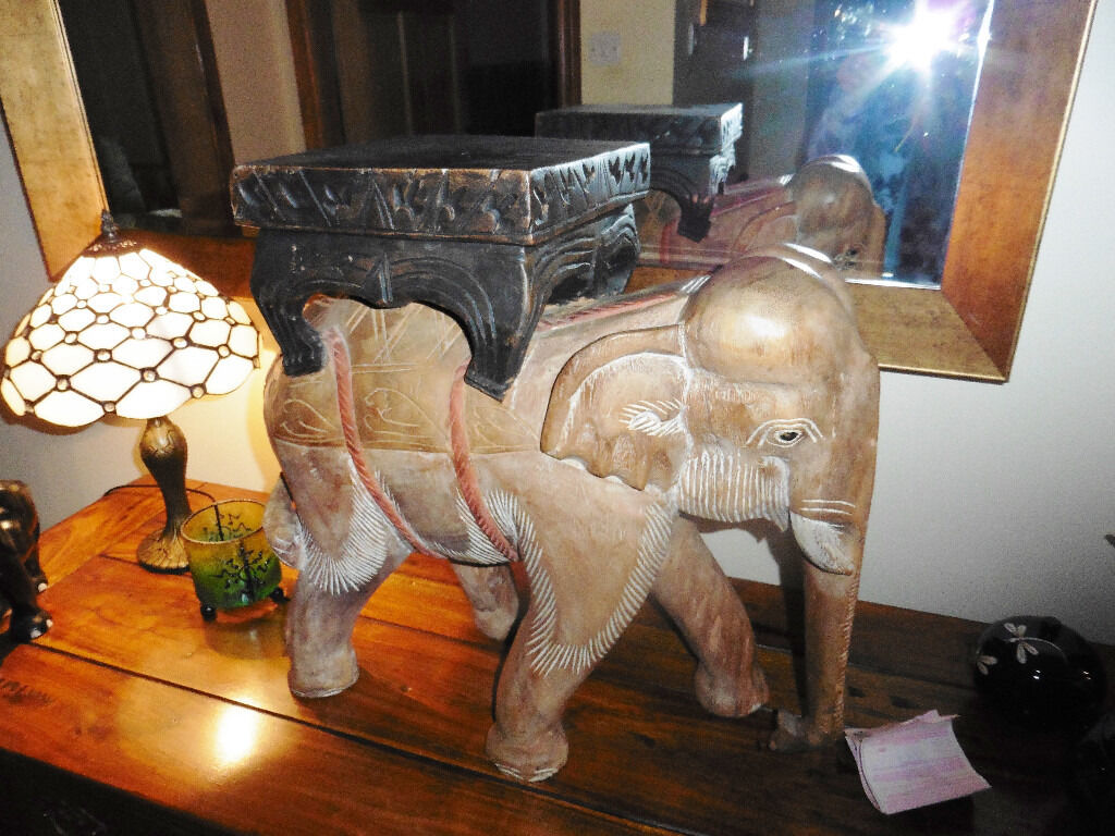 Antique Hand Carved Large Wooden Indian Elephant