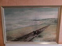 Painting of A Pair of Horses plowing on hillside