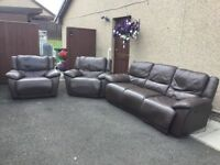 Electric Recliners 3+1+1 Brown Real Leather Sofa In Clean Condition (Can Deliver)