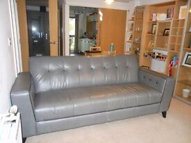 Leather 3 Seater Sofa and Matching Armchair
