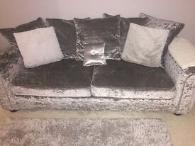 3 seater sofa and swivel chair in crushed velvet