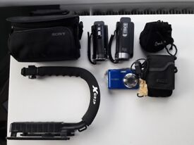 Camcorder and Camera Set with Accessories