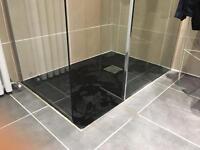 Black slate effect stone shower tray