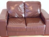 Chocolate brown leather 2 seat sofa