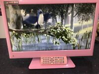 """Pink Alba 22"""" LED/DVD Combi alba aelkdvd2288 Freeview -This item is in great condition Remote"""