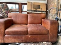 Comfy Tan Leather 2 Seater Sofa for Sale
