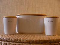 White Ceramic Bread Bin with Tea and Coffee Storage Jars
