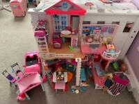 Barbie bundle including house, campervan, car and dolls