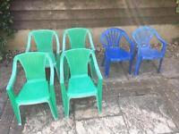 Kids garden chairs x6