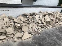 Rubble bricks hardfill hardcore concrete paving foundation driveway