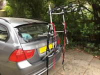 Halford car rack for 3 bikes. Tailgate mounted, 45kg max. Excellent condition & all parts included