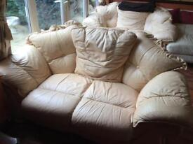 Two Seater Leather Cream Sofa