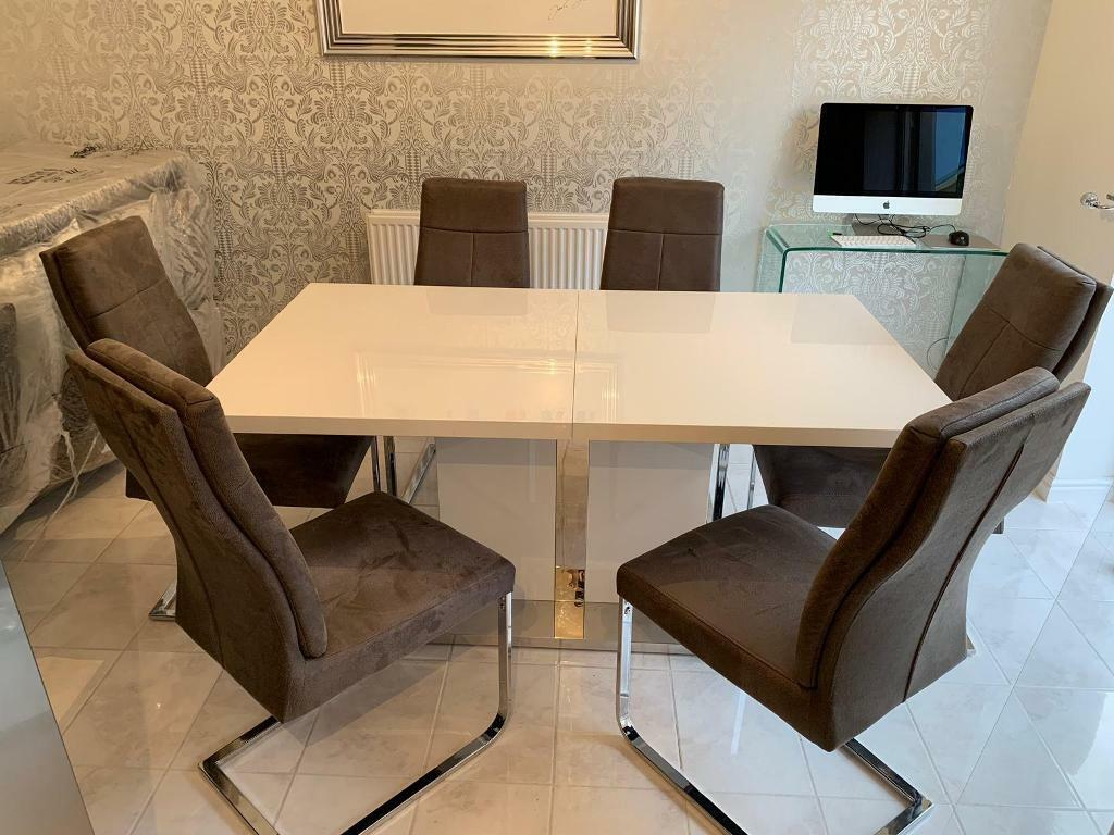 Gloss White Extendable Dining Table And 6 Grey Chairs Immaculate Exeter