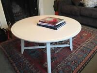 Circular white coffee table