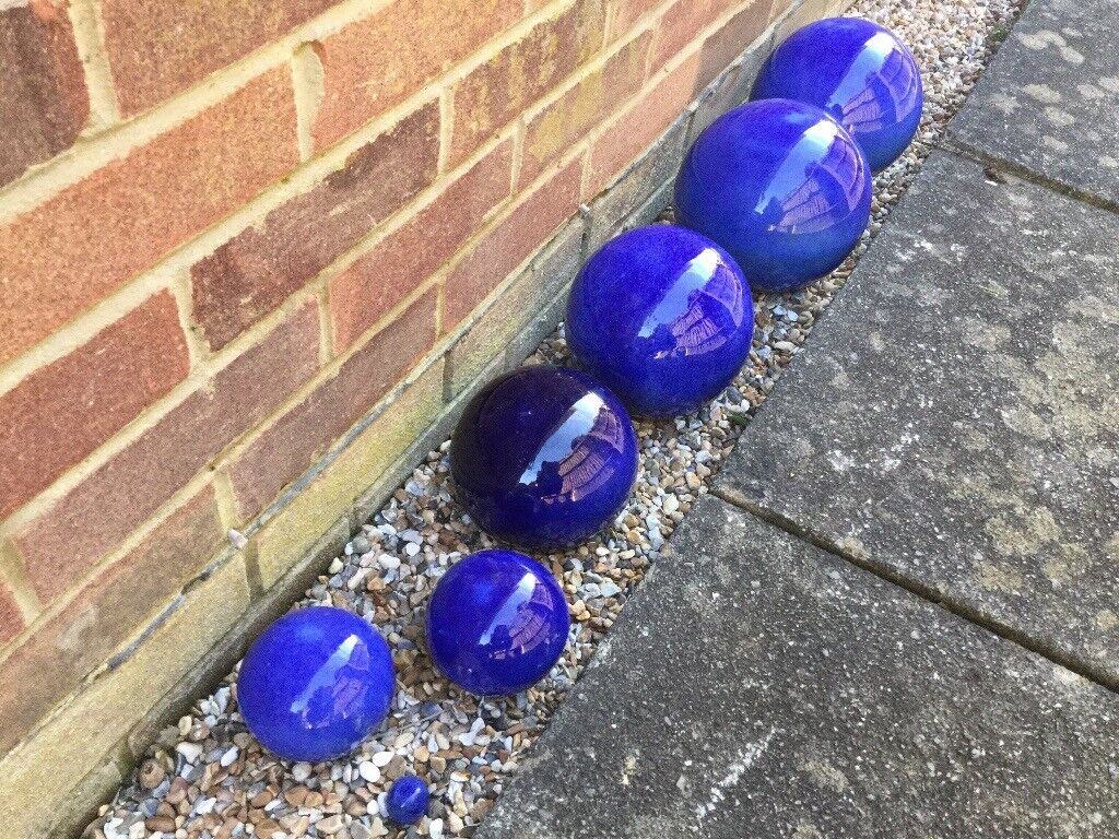 Set Of 7 Blue Glazed Garden Sphere Ball Ornaments In