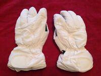 White teenager's ski gloves
