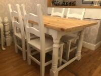 5ft Shabby Chic Farmhouse Chunky Pine Table and 4 Chairs