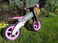 Wooden balance bike BIKER in pink and grey