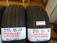 SET OF 4 MATCHING 235 55 17 MICHELIN LATITUDES £80 PAIR £150 SET SUP & FITD £150 SET opn sun 4pm