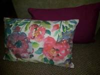 Cushions. Watercolour. Purple and pink. Flowers.
