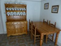 Welsh Dresser table and chairs in Pine been used as breakfast room furniture