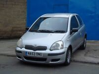 2003 Toyota Yaris 1.0 VVT-i T3 3door petrol silver long Mot drive good not 3door cheap to run