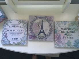 Set of 3 French vintage canvasses