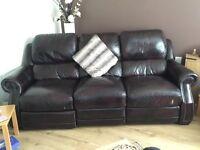 Brown leather 3 piece suite excellent condition