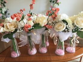 Ivory and pink wedding decorations