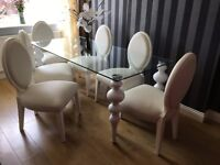 Italian Dining Table & 6 Chairs - Ceramic Table Legs - RRP £4,500 -White Leather Chairs