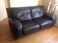 2 dark brown leather sofas for sale.