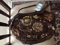 Jane Shilton Brown leather sequinned bag new with tag.