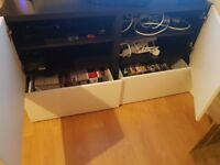Ikea Media Unit Black & Gloss White