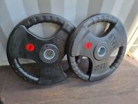 2 x 25kg Olympic Rubber Coated Plates with Tri-Grip Handles - Delivery Possible