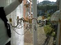 5 arm crystal chandelier