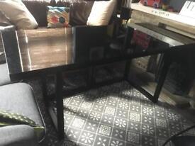 Habitat Kusa Black High Gloss Desk on Oak Trestles