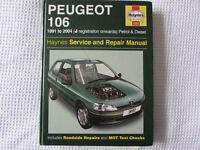 USED HAYNES WORKSHOP MANAUL PEUGEOT 106 1991-2004 PETROL AND DIESEL