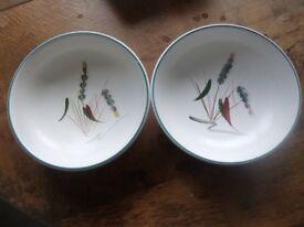 4 Vintage Denby Stoneware Greenwheat Bowls D 15 cm
