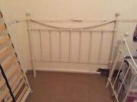 BED FRAME METAL DOUBLE SIZE WHITE 1350mm x 1900mm