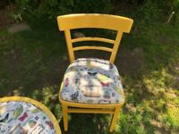 Vintage table and chairs ... painted and varnished , table and chairs treated with fabric sealer
